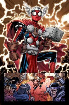 Spider-Thor, a Mashup of Spider-Man and Thor by David Nakayama All Spiderman, Spiderman Kunst, Amazing Spiderman, Thor, Loki, Marvel Characters, Marvel Heroes, Marvel Avengers, Comic Books Art