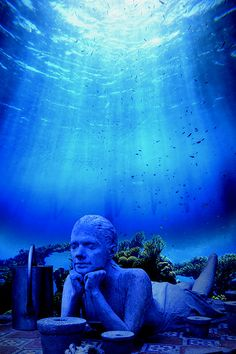Cancun Underwater Museum, Mexico -- Divers and snorkellers will have the opportunity to admire more than 400 original sculptures. Been to Cancun. guess I got to go back. Places Around The World, The Places Youll Go, Places To See, Places To Travel, Travel Destinations, Underwater Museum Mexico, Underwater Art, Underwater Sculpture, Beautiful World