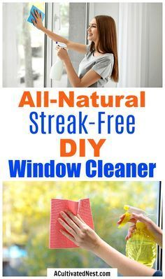 All-Natural Streak-Free DIY Window Cleaner- It's easy to make your own homemade window cleaner and save money at the same time! This streak-free DIY window cleaner only uses a few all-natural ingredients!