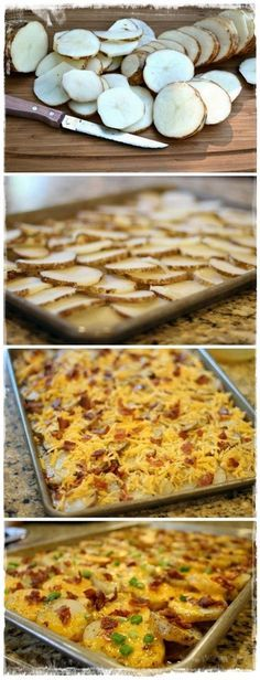 """Cheesy Bacon Potato Bites: link doesn't work, but this looks like a good idea! Slice potatoes thin, place in single layer on 15x1"""" pan, top with bacon bits, cheddar cheese, green onions. Not sure how high to bake it though nor for how long. It may need to be trial and error!"""