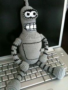 Robot - Bender, Crochet, Amigurumis, Miniaturas y muñecas, Amigurumis, Cultura geek, Accesorios, Cultura geek, Humor, Cultura geek, Robots, ...