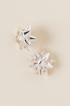 Holiday Bow Stud Earrings In Silver- Francesca's- $12.00