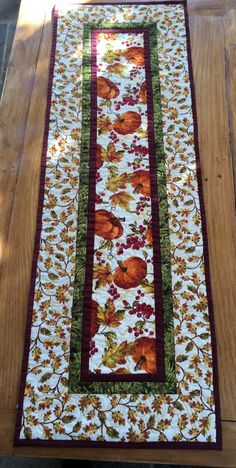Pumpkin Table Runner - Fall Table Runner - Table Runner with Leaves - Autumn Table Runner - Thanksgiving Table Runner Thanksgiving Diy, Thanksgiving Table Runner, Halloween Table Runners, Patchwork Table Runner, Table Runner And Placemats, Table Runner Pattern, Quilted Table Runners, Fall Table Runner, Quilted Table Toppers