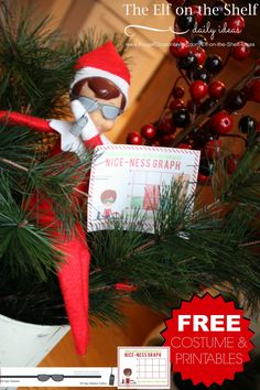 FREE Elf on the Shelf Costumes including Spy Elf plus FREE Elf on the Shelf Printable Notes with the Nice-Ness Graph. Dozens of Easy and Creative Elf on the Shelf Ideas on Frugal Coupon Living.