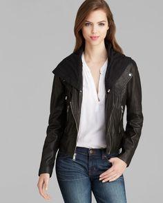 Marc New York Jacket - Violet Asymmetric Leather Moto Hooded för 3 179 kr, från Bloomingdale's