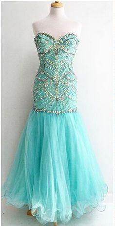 Beaded Embellished Sweetheart Floor Length Tulle Mermaid Prom Dress afe70476dd1f