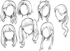 Ideas for hair art reference anime girls - Anime Drawings Sketches, Cool Art Drawings, Pencil Art Drawings, Drawing Faces, Hair Drawings, Hair Reference, Art Reference Poses, Girl Hair Drawing, Anime Hair Drawing