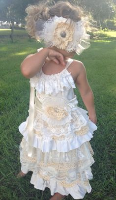 Boho flower girl dress Vintage flower girl dress by RainRene, $189.00