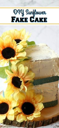 Looking a fun and cute upcycle DIY project? Check out this super easy fake cake prop you can make! Diy Craft Projects, Easy Crafts, Reuse, Upcycle, Sunflower Cakes, Fake Cake, Arbour Day, Earth Day, Diy Tutorial