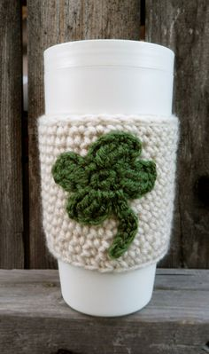 Reusable Eco Friendly St. Patricks Day Shamrock Coffee Cozy Sleeve