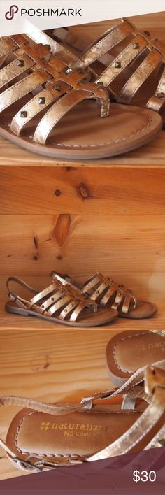 Naturalizer Akia Sandals NIB studded gold sandals with ankle strap. Cute and comfortable. Naturalizer Shoes Sandals