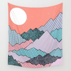 Check out society6curated.com for more! @society6 #illustration #wall #apartment #decor #homedecor #buy #shop #sale #design #shopping #apartmentgoals #sophomoreyear #sophomore #year #college #student #home #house #gift #idea #art #interiordesign #line #drawing #mountains #purple #red #nature #landscape #blue