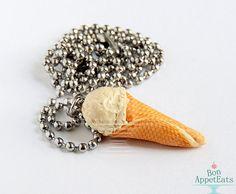 Vanilla Ice Cream Cone Necklace Polymer Clay by BonAppetEats, $8.50