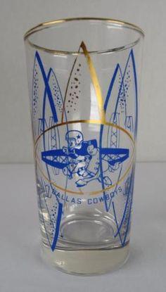 "Rare HTF Vintage 1960's Hedy NFL Football Dallas Cowboys 5 1/2"" Drinking Glass please retweet"