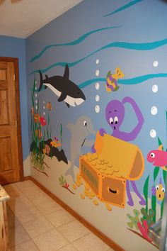 Sea Treasures Wall Mural : Just tape, trace & paint this easy, DIY paint-by-number wall mural that features underwater adventure with a dolphin, shark and octopus with a sunken treasure. Decoration Creche, School Murals, Under The Sea Theme, Church Nursery, School Decorations, Colorful Fish, Tropical Fish, Ocean Themes, Classroom Decor