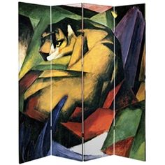 Two striking prints by the German Expressionist Franz Marc. A great choice of room divider for lovers of animals, art or bold colors. Lightweight, high quality prints that will add a richness to any room or office.