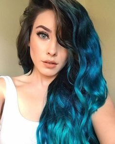 blue ombre hair color trend in trendy hairstyles and colors blue ombre hair; 304696731037295413 : blue ombre hair color trend in trendy hairstyles and colors blue ombre hair; Girl Blue Hair, Ombre Hair Color, Cool Hair Color, Blue Ombre, Hair Colors, Blue Green Hair, Green Eyes, Mermaid Hair, Grunge Hair