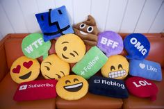 Throwboy Pillows. Buy fabric and embroider the face/word on fabric then sew.