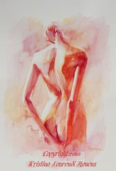 Watercolor Painting of  Female Back in Soft Reds by Krystyna81, $18.00