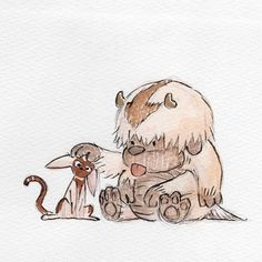 A tiny doodle to test out a new brush pen. Further tweaked and toned in Photoshop because I couldn't find my nice Copic markers and also because I'm really good at ruining sketches with markers.   #momo #appa #chibi #ink #avatarthelastairbender #atla