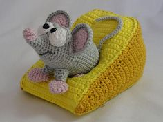 This lovingly hand crocheted mouse with his cheese would make and delightful and unusual gift for yourself or loved ones. A work of art at its cutest!