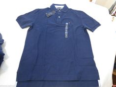 Mens Tommy Hilfiger Polo shirt M medium med solid NEW 7848710 Saphire Blue 407 #TommyHilfiger #polo