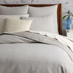 Mid-Century Organic Crosshatch Jacquard Duvet Cover + Shams - Platinum | west elm