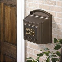 """Wall Mounted Locking Mailbox Color: French Bronze by Whitehall. $152.25. Incoming Mail Slot: 12"""" x 1 1/2"""" (with locking insert). 14 1/2"""" w. x 15 1/2 h. """" x 7 3/8"""" deep. 11 1/2 lbs. Overall opening: 5"""" x 13"""". Locking insert is removable if you don't want to use it.. Mounting Hardware included.. 16138 Color: French Bronze Features: -French bronze.-Aluminum.-Rust free. Color/Finish: -Weather resistant powder coat finish. Dimensions: -Overall dimensions: 14.5'' H ..."""
