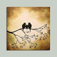 Birds on a Branch Silhouette Painting - Crafts by Amanda Tole Painting, Painting & Drawing, Coffee Painting, Silhouette Painting, Tree Silhouette, Silhouette Images, Painting Inspiration, Diy Art, Art Projects