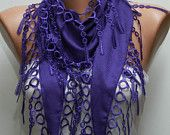Purple Scarf - Pashmina Scarf - Cowl Scarf with Lace Edge