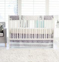 Harper in Aqua Baby Bedding | Gray and Aqua Crib Rail Cover - Jack and Jill Boutique
