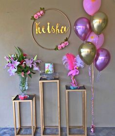 Loving this awesome Flamingo Birthday Party! See more party ideas and share your. Loving this awesome Flamingo Birthday Party! See more party ideas and share yours at CatchMyParty. Flamingo Party, Flamingo Birthday, Birthday Balloons, Birthday Party Table Decorations, Birthday Party Tables, Birthday Kids, Decoration Party, Festa Party, Pink Parties