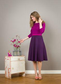 Knielanges 3-farbiges Kleid mit Tellerrock, Magenta und Lila / colourful magenta- purple dress, midi lenghts, party dress by Jekyll-und-Kleid via DaWanda.com