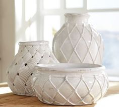 Sloane Ceramic Vases - The new April Pottery Barn catalog just arrivied and of course I've been busy looking through the pages wondering how to make these things for a lot less then the ninety-nine to the one-hundred twenty-nine dollar price they're asking for.  For these vases, I'm thinking of using Puffy Paint on a simple white vase or bowl.  I'll let you know how it turns out.