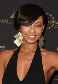 Keri Hilson Short Bob Black Hairstyle with Side Swept Bangs