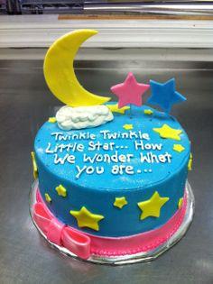 Twinkle twinkle little star, gender reveal baby shower cake.