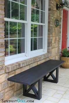 DIY X Leg Bench | Adding Cheap Curb Appeal by DIY Ready at  http://diyready.com/diy-ideas-home-improvement-on-a-budget/