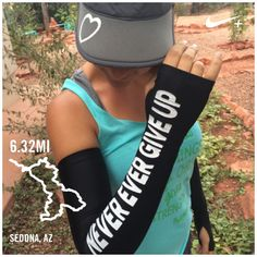 Never Give Up Running Arm Warmer - keep running hot or cold we can do it! - $17.99 - runners sleeves - runners glove.
