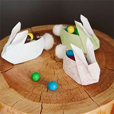 Make these ultra-cute origami bunnies and fill them with sweets this Easter!