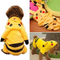 Cute Pikachu Dog Clothes Puppy Soft Costume Hoodie Coat Pet Gift Free Shipping in Pet Supplies, Dog Supplies, Clothing & Shoes   eBay