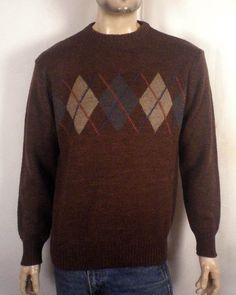 vtg 70s Puritan men's Classic Brown Argyle Diamond Pattern Sweater crew SZ L