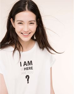 SHORT SLEEVE SLOGAN T-SHIRT - T-SHIRTS AND TOPS - WOMAN - PULL&BEAR Indonesia