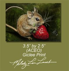 Mouse and Berry Art in Miniature by Melody Lea by MelodyLeaLamb (Art & Collectibles, Prints, Giclee, small art, charming, melody lea lamb, cute, mouse, mouse art, animal art, illustration, unique, archival, strawberry, melody lamb, aceo)