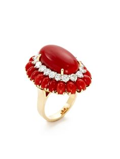Estate Fine Jewelry Vintage Red Coral & Diamond Oval Ring