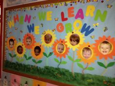 Spring Bulletin Board Ideas For The Classroom Crafty Morning Toddler Bulletin Boards, Spring Bulletin Boards, Preschool Bulletin Boards, Classroom Bulletin Boards, Bullentin Boards, April Bulletin Board Ideas, Seasonal Bulletin Boards, Classroom Borders, Daycare Crafts