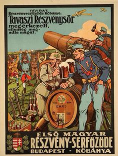 WWI Hungarian Beer Ad depicting the defeat of Romania,1916