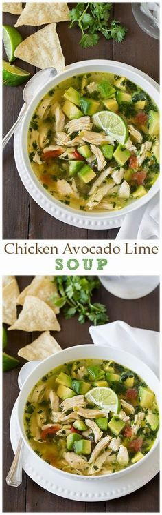 #Chicken #Avocado Lime Soup, a hot #winter treat that is keto and paleo friendly that will warm you up better than bulletproof coffee, a cold avocado, or an even colder lime!