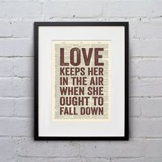Love Keeps Her In The Air When She Ought To Fall Down - Quote Firefly Browncoat Serenity Dictionary Page Book Art Print - DPQU120 on Etsy, $8.99