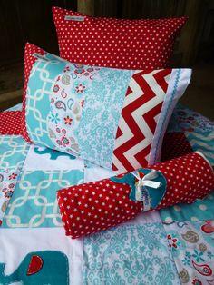Snuggly jacks custom made baby bedding. Patchwork cot quilt, cushion, nursery, minky, blanket elephants