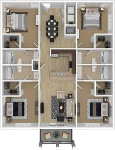 Gallery Decoration 4 Bedroom Apartments Luxury Four Bedroom Ccu Conway Student Housing Close To Campus Sims House Plans, House Layout Plans, Dream House Plans, House Layouts, House Floor Plans, Apartment Floor Plans, Bungalow Floor Plans, 4 Bedroom House Designs, Three Bedroom House Plan